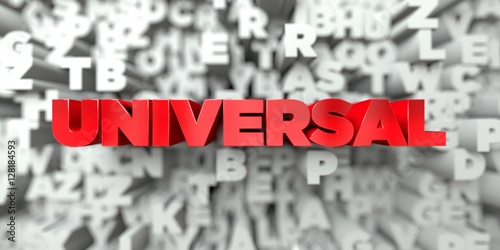 Photo  UNIVERSAL -  Red text on typography background - 3D rendered royalty free stock image