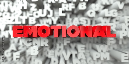Fotografie, Obraz  EMOTIONAL -  Red text on typography background - 3D rendered royalty free stock image