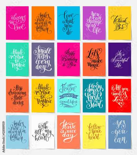 Photo sur Toile Positive Typography set of calligraphy posters with hand lettering motivational and
