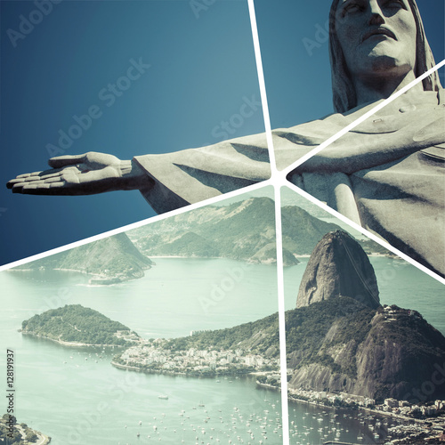 Collage of Rio de Janeiro (Brazil) images - travel background (m Poster