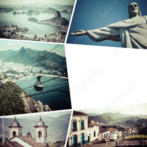 In de dag Rio de Janeiro Collage of Rio de Janeiro (Brazil) images - travel background (m
