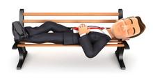 3d Businessman Taking A Nap On Public Bench