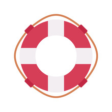 Lifebuoy Ring In Red And White...