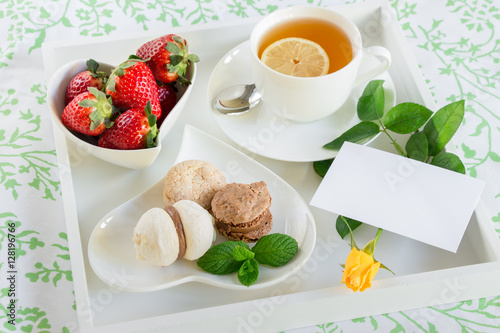 Beautiful Breakfast In Bed On White Tray And Yellow Rose