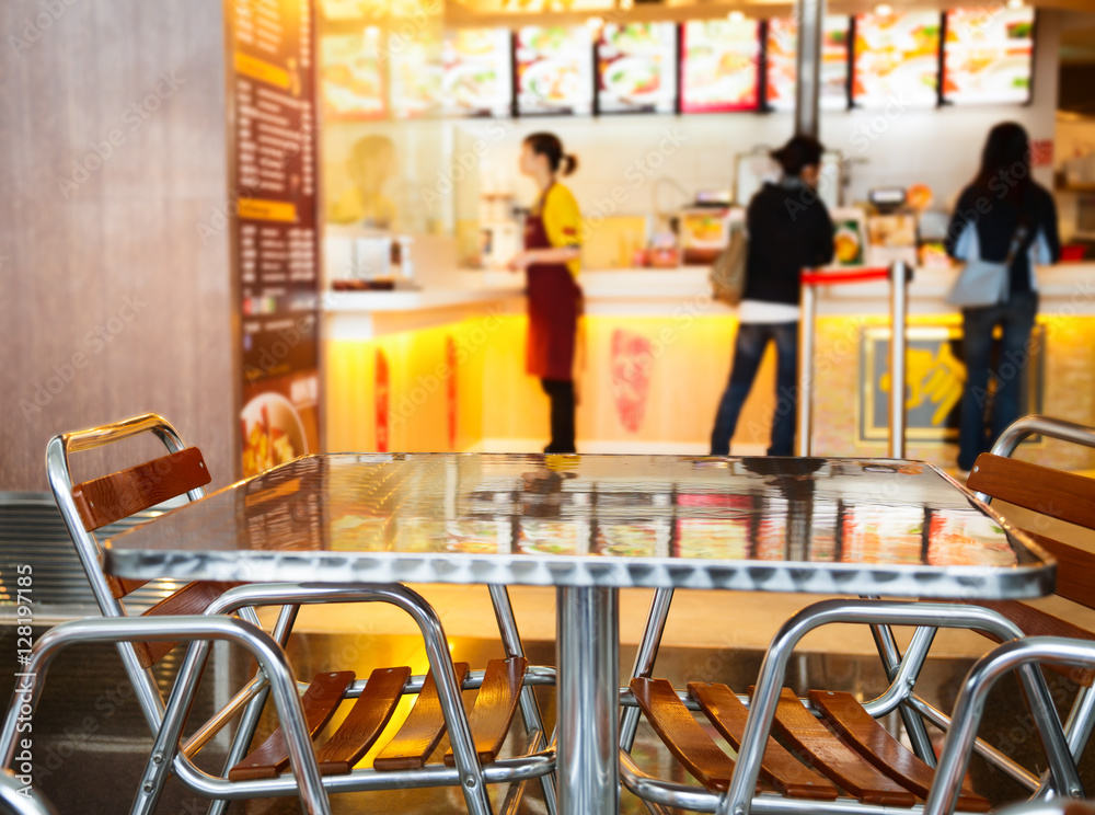 Fototapety, obrazy: Seats and table at a fast food cafe