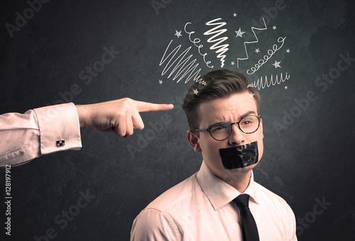 Fototapeta Leader pointing at employee obraz na płótnie