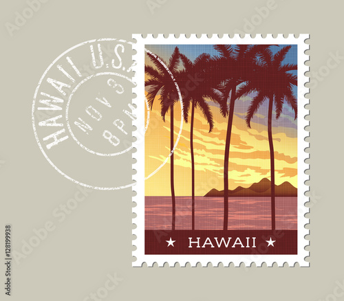 Hawaii postage stamp design. Vector illustration of tall palm trees at sunset. Grunge postmark on separate layer Wall mural