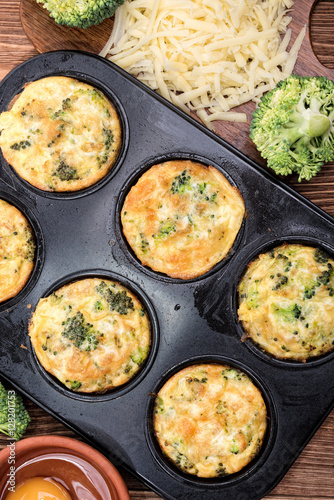 Delicious egg muffins broccoli and cheese. Concept of cooking.