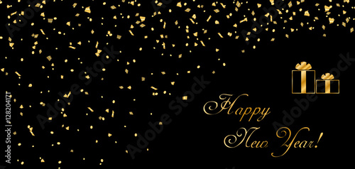happy new year card background gold abstract template confetti for greeting xmas celebrate banner