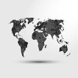 World map. Earth. Modern Monochrome Grunge World map. Vector Illustration.