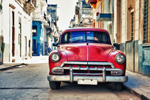 Vintage Classic American Car Parked In A Street Of Old Havana, Cuba