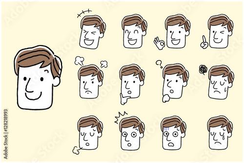 Fotografie, Obraz  男性:顔、表情、セット