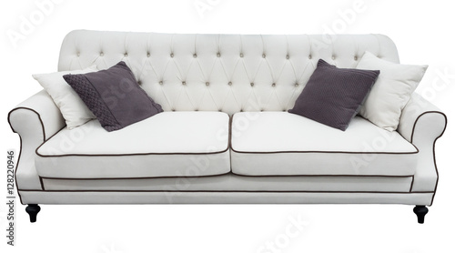 Terrific White Sofa With Pillows Soft White Couch Isolated Caraccident5 Cool Chair Designs And Ideas Caraccident5Info