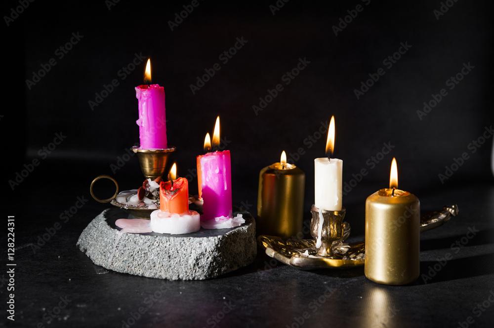 Fotografie, Obraz candles lit, colored dark / black / background ...