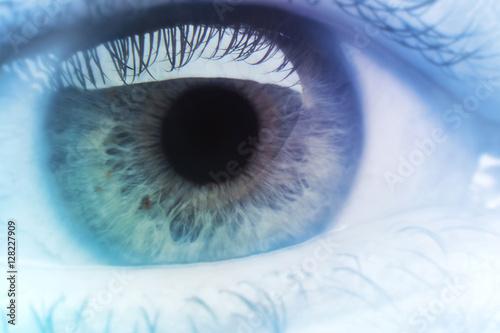 Spoed Foto op Canvas Iris Eye Macro