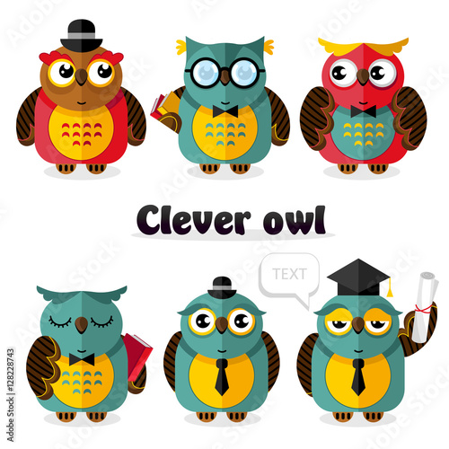 Poster Uilen cartoon Clever owl cartoon characters set