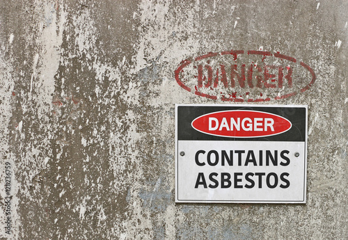 red, black and white Danger, Contains Asbestos warning sign Canvas Print