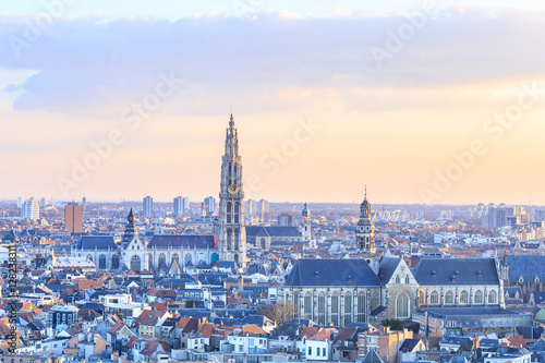 Poster Antwerp View over Antwerp with cathedral of our lady taken