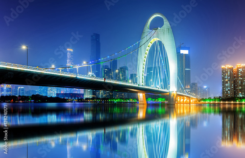Recess Fitting Bridge Night view of Guangzhou city, China