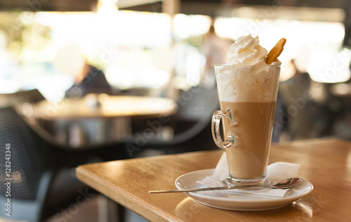 Fotografie, Obraz  Cup of coffee latte with whipped cream and gingerbread