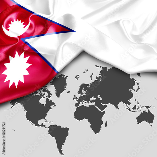 Abstract waving Nepal flag over world map. 3d illustration - Buy ...