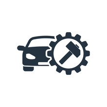 Auto Service, Isolated Icon On White Background, Auto Service, C