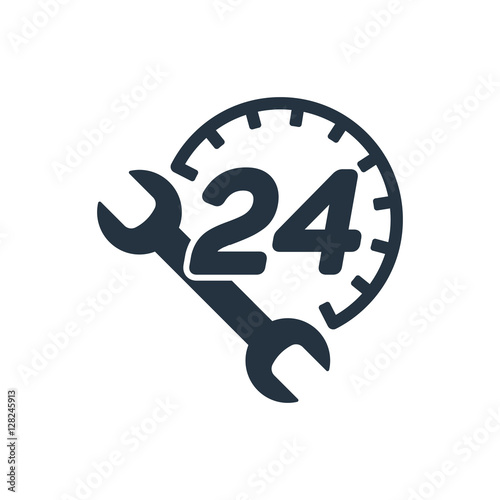 Fényképezés  car service, 24 hours, call center, isolated icon on white backg