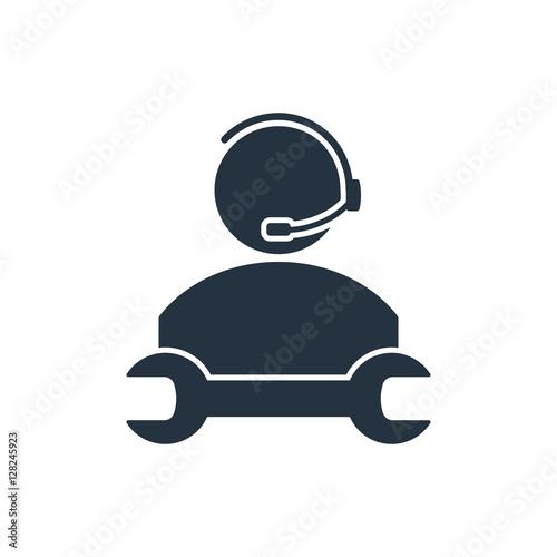 Fényképezés  car service, 24 hours, call center, isolated icon on white backg