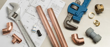 Plumbers Tools And Plumbing Materials Banner On House Plans