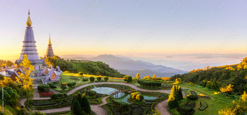 Fototapety, obrazy: Landscape of two pagoda on the top of Inthanon mountain