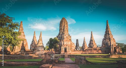 Landscape Ayutthaya Historical Park in Ayutthaya, Thailand. vint