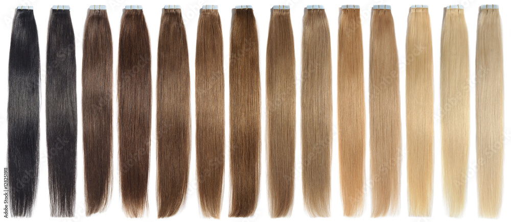 Fototapety, obrazy: various colors of straight tape in human hair extensions