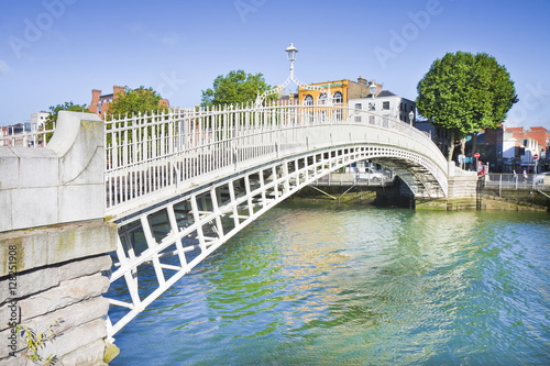 Fotografie, Obraz The most famous bridge in Dublin called Half penny bridge