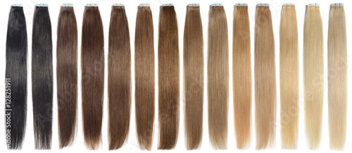 Spoed Foto op Canvas Kapsalon various colors of straight tape in human hair extensions