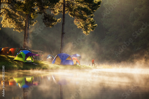 Printed kitchen splashbacks Reflection Pang ung park and Morning in forest with camping in the mist