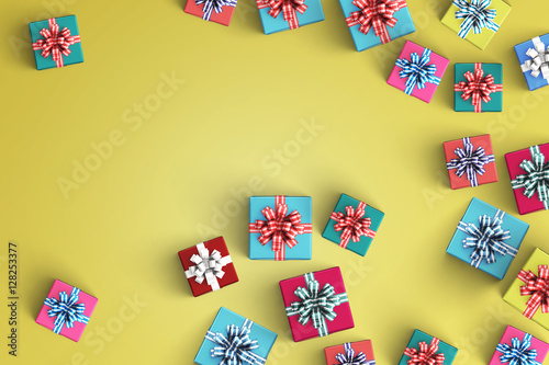 Photo  Happy birthday and gift box on color background
