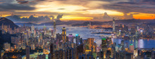 Sunset Over Victoria Harbor As...