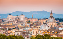 View Of Rome From Holy Angel Castle At Sunset
