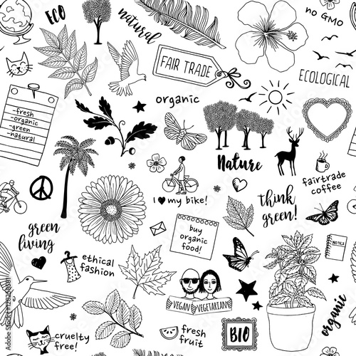 Fotografie, Obraz  Seamless doodle pattern with diverse elements representing a green, organic, eth
