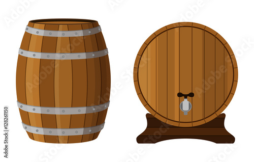 Papel de parede Wooden cask with rum. Cognac, brandy, scotch in cartoon barrel.