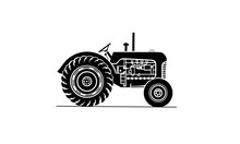 Old Farm Tractor Side On View Illustration