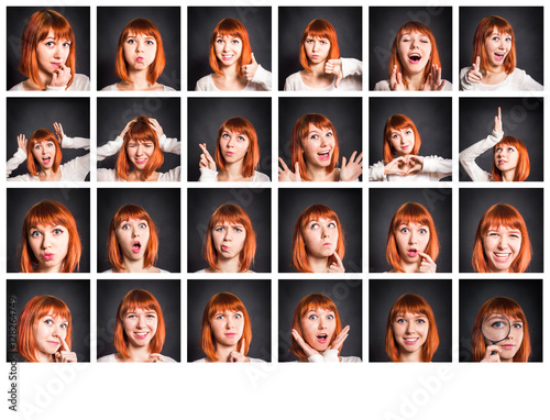 Fotografía  Young woman showing several expressions on black background.
