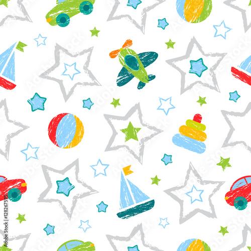 streszczenie-wzor-dla-dziewczat-chlopcow-ubrania-tworczy-tlo-z-pilka-figur-geometrycznych-gwiazd-samochodow
