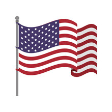 United States Flag With Waving Wind Vector Illustration