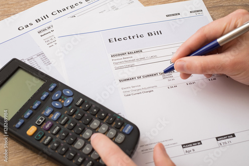 Valokuva  Electric bill charges paper form on the table
