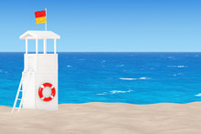 Lifeguard Tower On The Sand Sunny Beach. 3d Rendering