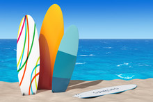 Colorful Summer Surfboards On The Sand Sunny Beach. 3d Rendering