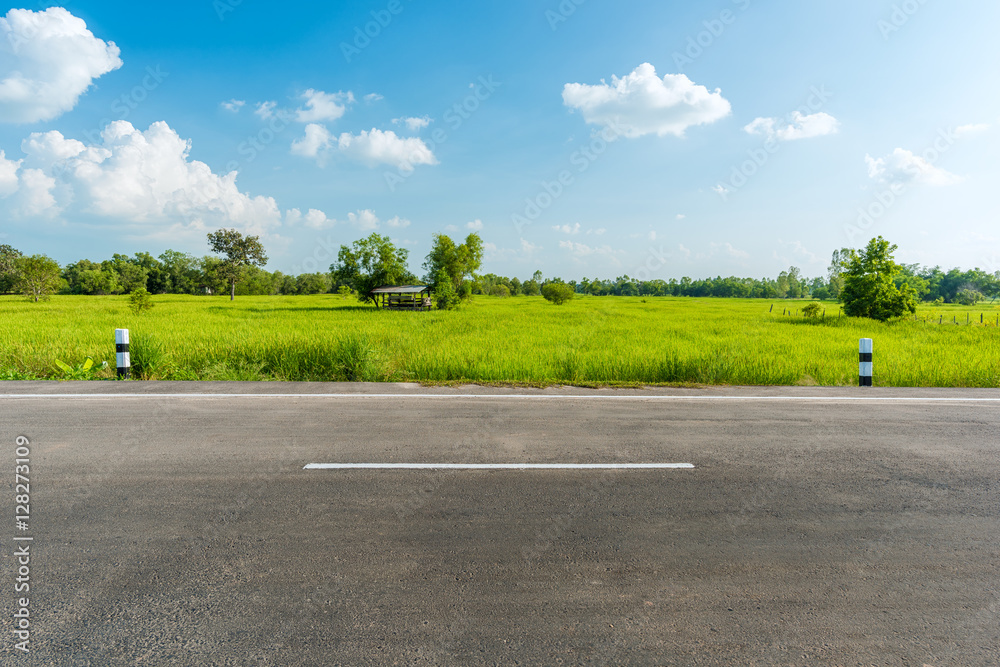 Fototapeta Side view of asphalt road isolated on white background.  This has clipping path.