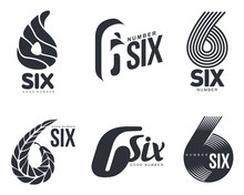 Set Of Black And White Number Six Logo Templates, Vector Illustrations Isolated On White Background. Black And White Graphic Number Six Logo Templates - Technical, Organic, Abstract