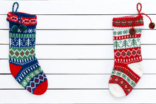 Two Colorful Patterned Christmas Stockings